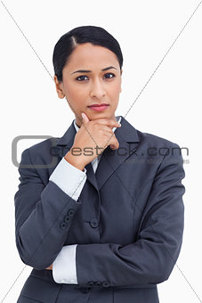 Close up of saleswoman thinking