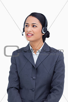 Close up of talking call center agent