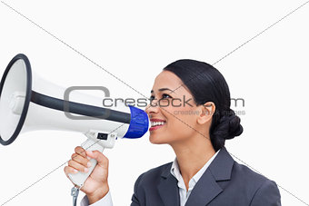 Close up of smiling saleswoman with megaphone