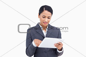 Close up of saleswoman with her touch screen computer
