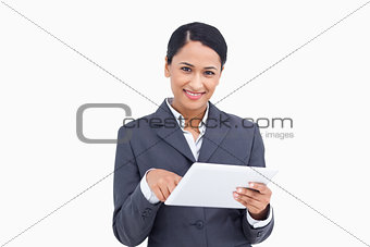 Close up of saleswoman with tablet computer