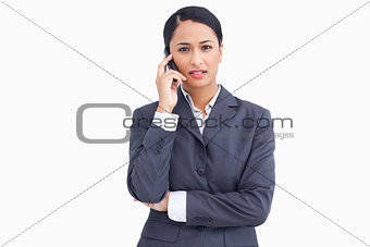 Close up of saleswoman in phone conversation