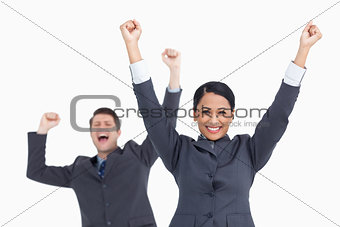 Close up of successful salesteam cheering