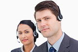 Close up of call center employees