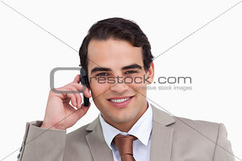 Close up of salesman on his cellphone