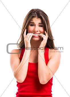 Girl biting her nails
