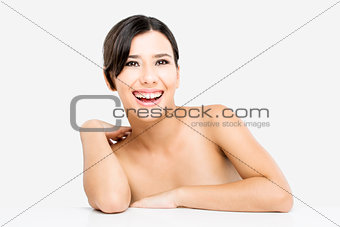 Beautiful Asian woman laughing