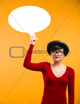 Girl holding a thought ballon