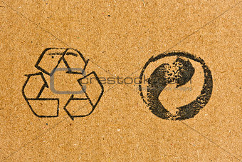 cardboard with recycling symbol