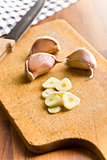 sliced garlic on kitchen table