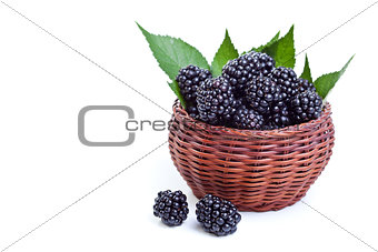 Fresh blackberries in a small basket