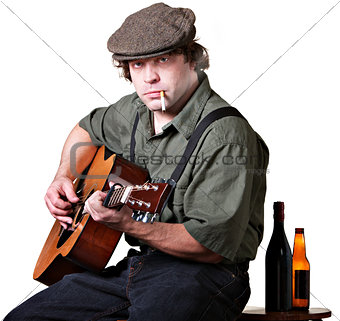 Serious Guitarist with Alcohol