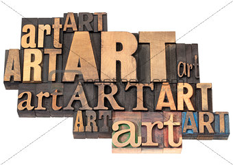 art word abstract in wood type