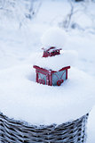 Red lantern in snow filled basket