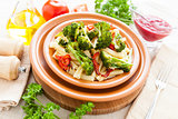 Delicious Pasta with roasted vegetables broccoli and pepper