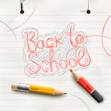 Back to school, handwritten with red pencil