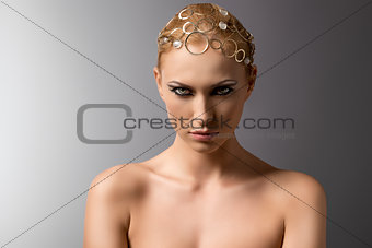 beauty portrait of blonde girl with penetrating eyes