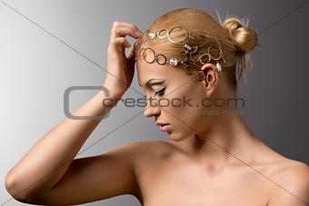 beauty portrait of blonde girl in profile
