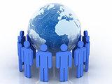 human circle with world globe