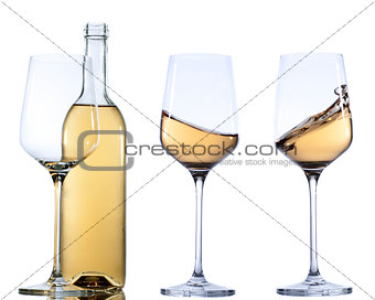 Set of glass with white  wine on white background. Empty or splashing.
