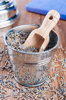 Pail of dry lavender