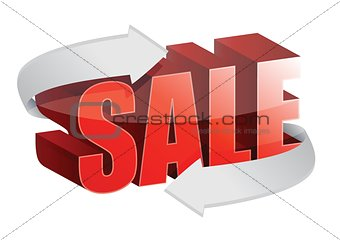 3d text Sale and changing arrows