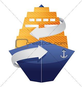 cruise ship and arrow