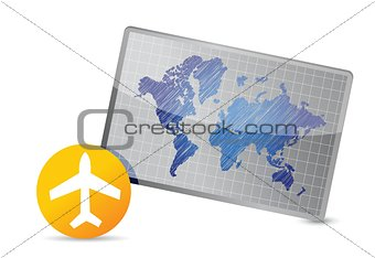 airplane and world map board