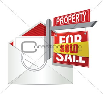E-mail and real estate sold sign