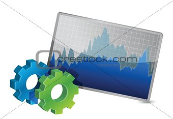 Stock Market Chart and gears