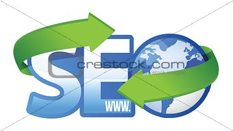 seo text with earth globe,