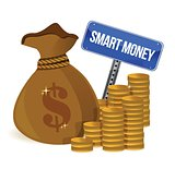 smart money bag and coins