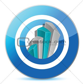 Bright blue graph on a target