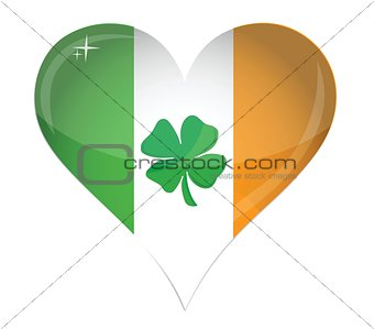 Ireland Flag Heart Glossy and clover