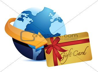 globe arrow and giftcard