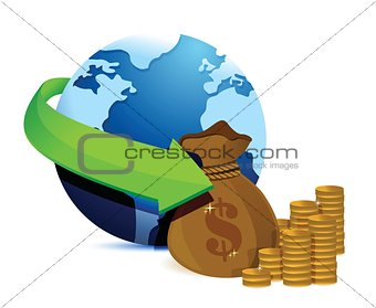 globe arrow and money