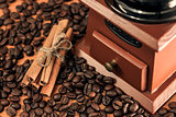 coffee mill and cinnamon sticks