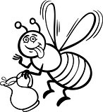 honey bee cartoon for coloring book