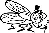 housefly cartoon for coloring book