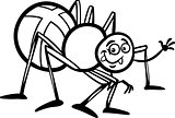 cross spider cartoon for coloring book