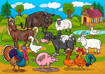 farm animals country scene cartoon illustration