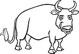 farm bull cartoon for coloring book