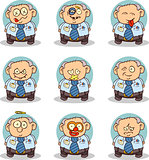 Set of 9 pictures of the old office worker. Can be used as a Smilie Pack.