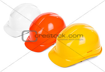 three hard hats