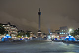 Trafalgar Square and Nelson's Column in the evening.