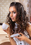 girl with white tea cup