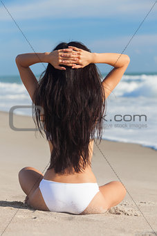 Sexy Woman Girl Sitting in Bikini on Beach