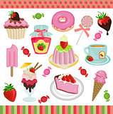 Strawberry candies digital collage