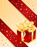 Christmas gift on yellow background