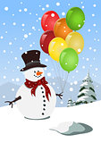 Happy snowman holding colorful balloons